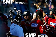 Perth heat celebrate runs on the board in the 5th inning PHOTO: James Worsfold / SMP IMAGES / Baseball Australia | Action from the Australian Baseball League 2019/20 Round 2 clash between the Perth Heat v Canberra Cavalry played at Perth Harley-David