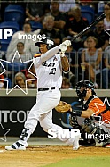 Kaleo Johnson of the Perth Heat PHOTO: James Worsfold / SMP IMAGES / Baseball Australia | Action from the Australian Baseball League 2019/20 Round 2 clash between the Perth Heat v Canberra Cavalry played at Perth Harley-Davidson ballpark, Perth, West