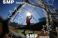 Players from the Perth Heat warm up during batting practice before the game PHOTO: James Worsfold / SMP IMAGES / Baseball Australia | Action from the Australian Baseball League 2019/20 Round 2 clash between the Perth Heat v Canberra Cavalry played at