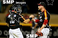 Perth Heat celebrate game 2 win from the Australian Baseball League 2019/20 Round 10 game 2 clash between the Perth Heat v Melbourne Aces played at Perth Harley-Davidson ballpark, Perth Photo: James Worsfold / SMP IMAGES / Baseball Australia |