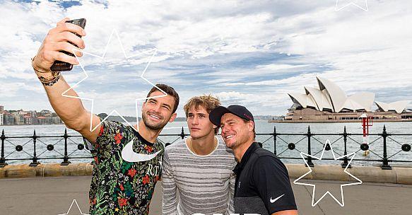Llyeton HEWITT, Grigor DIMITROV and Alexander ZVEREV