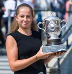 Jelena OSTAPENKO (LAT) Champion Photo Shoot with Coupe Suzanne Lenglen Trophy